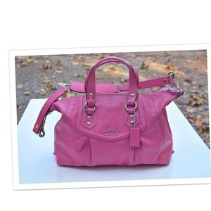 Authentic Hot Pink Leather Coach Purse
